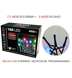 180 LUCI LED MULTICOLOR X ESTERNO  PROG.Happy Casa