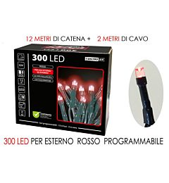 300 LUCI LED ROSSE X EST.PROGRAMM.Happy Casa