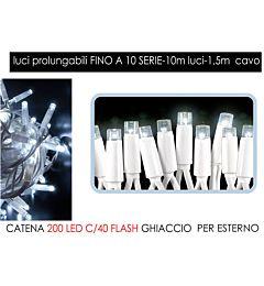 CATENA 200 LED C/40 FLASH GHIACCIOHappy Casa