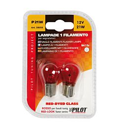 CP.LAMPADE 1 FILAM. 21W BA15S  RED-DYED  COLOURLampa