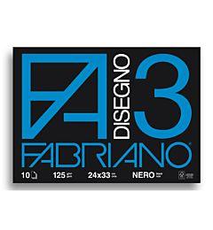 ALBUM FABRIANO F3 24X33 FG. 10 NERO GR. 125