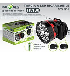 TORCIA A LED FRONTALE RICARICABILE 1000 MAH