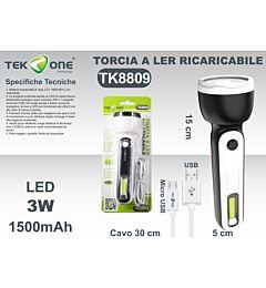 TORCIA A LED RICARICABILE USB 3W