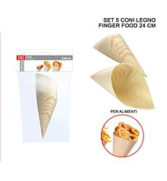 CONO LEGNO FINGER FOOD 24CM 5PZ ASS.Dc