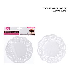 CENTRINO CARTA TONDO 16,5CM 50PZ BIANCODc