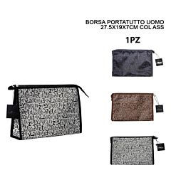 BORSA PORTATUTTO UOMO LETTERE 27.5X19X7CM ASS