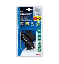 DOPPIA PRESA USB 12/24V CON   PROLUNGA