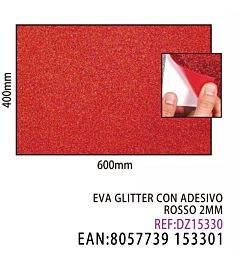 EVA GLITTER CON ADESIVO ROSSO 2MM