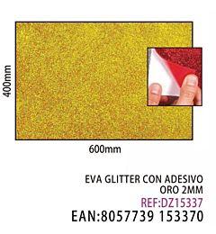 EVA GLITTER CON ADESIVO ORO 2MM