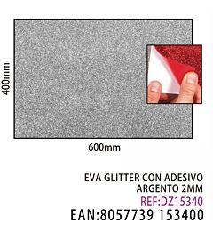 EVA GLITTER CON ADESIVO ARGENTO 2MM