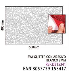 EVA GLITTER CON ADESIVO BIANCO 2MM