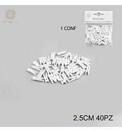 MOLLETTINE LEGNO 2.5CM CF.40PZ BIANCHEGev