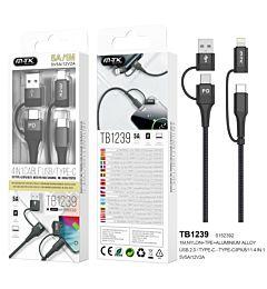 MTK TB1238 CAVO DATI 4 IN 1 TYPE-C/LIGHTNING/USB 5A