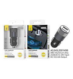 ONEPLUS CARICABATTERIA AUTO ALLUMINIO 2 USB 2.4A NERO