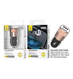 ONEPLUS CARICABATTERIA AUTO ALLUMINIO ROSA 2 USB 2.4A NERO