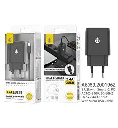 ONEPLUS CARICATORE USB A MURO CON 2 USB 2.4A, NERO