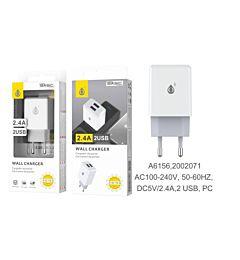 ONEPLUS CARICATORE USB A MURO CON 2 USB 2.4A, BIANCO