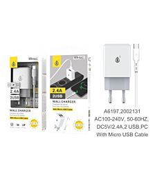 ONEPLUS CARICATORE USB A MURO BASIC CON 2 USB 2.4A, BIANCO