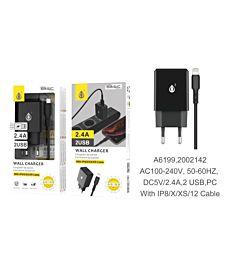 ONEPLUS CARICATORE USB A MURO BASIC CON 2 USB 2.4A, NERO