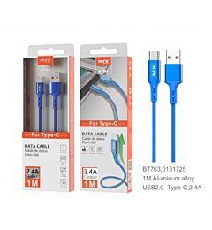 MTK CAVO USB C IN ALLUMINIO 2.4 A 1M BLU