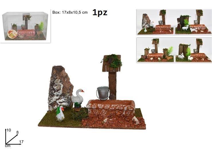SCENARIO ANIMALI C/ABBEVERATOIO 17CM4ASS HGW-1031Due Esse