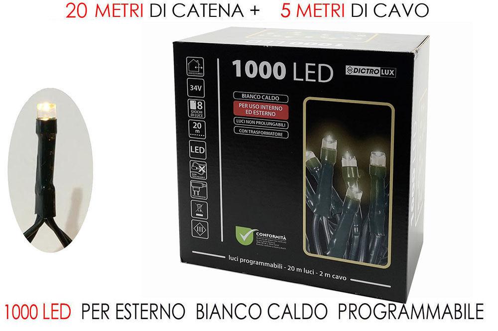 1000 LUCI LED BIANCO CALDO X EST.  PROGRHappy Casa