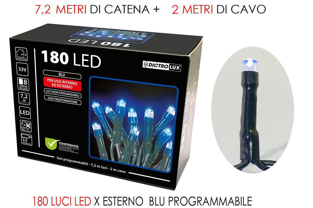 180 LUCI LED  BLU X ESTERNO PROGRAMM.Happy Casa