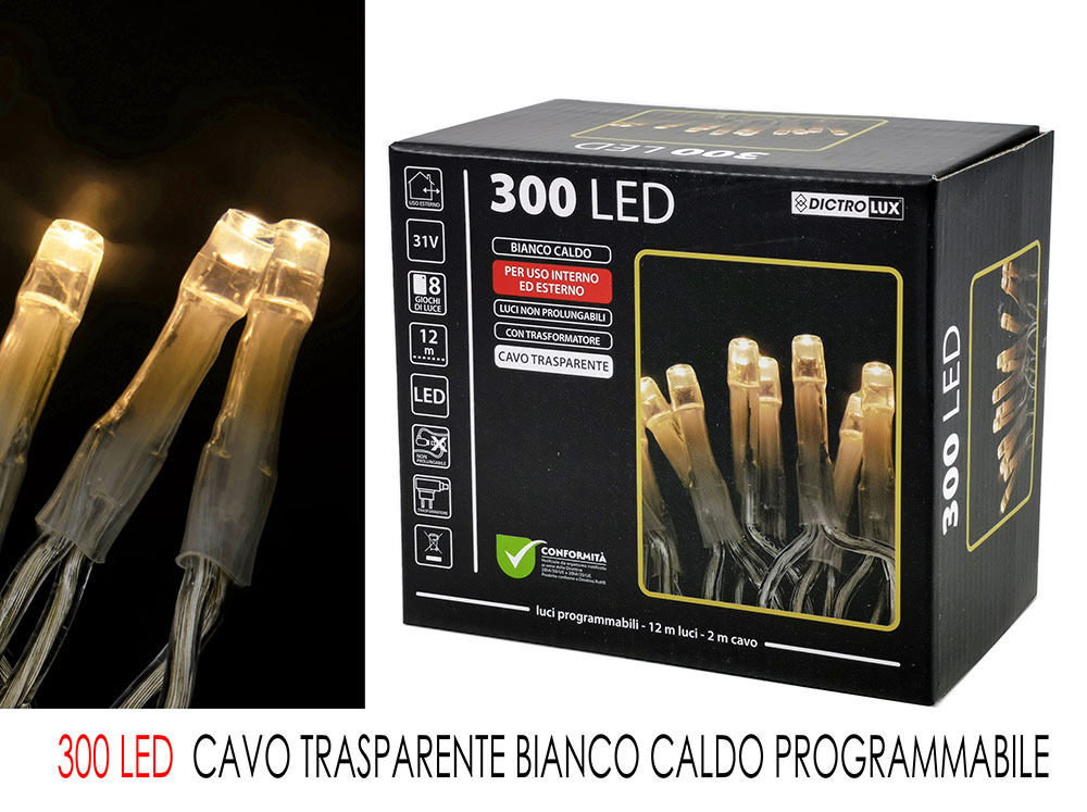 300 LED B.CALDO X EST CAVO TRASP.  PROG.Happy Casa
