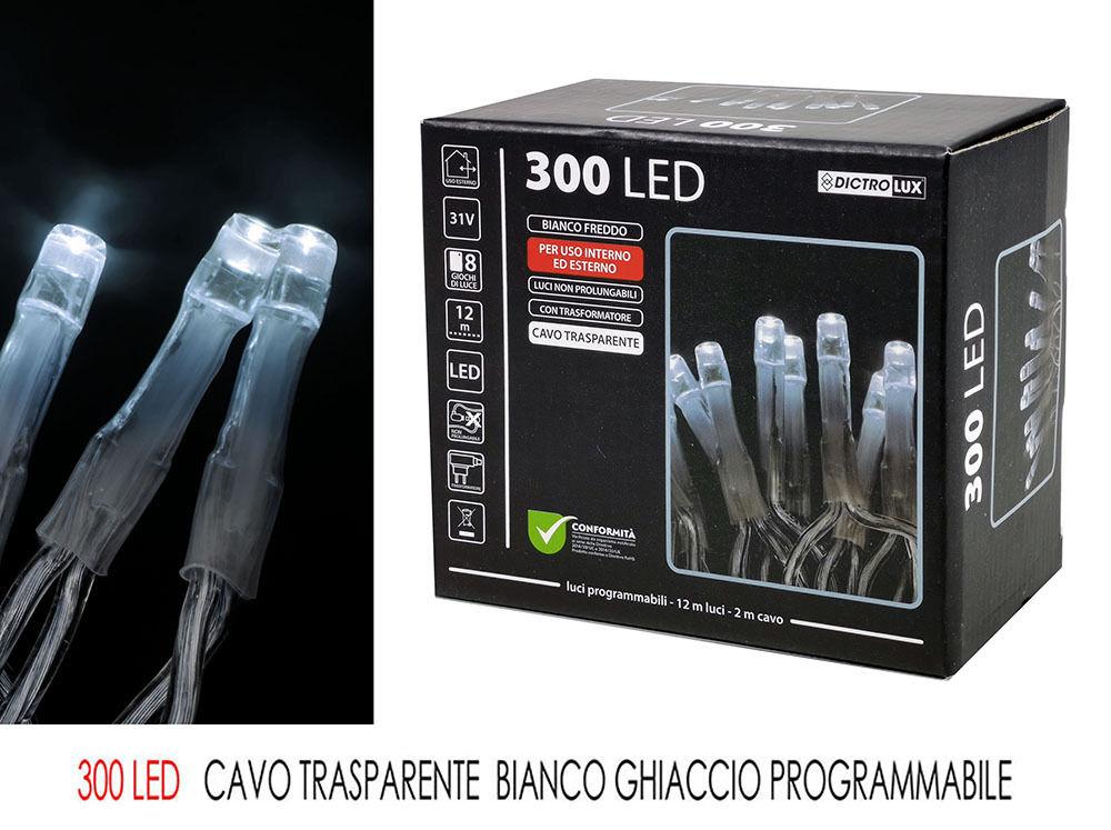 300 LED BIANCO GHIACCIO X EST CAVO TRASPHappy Casa