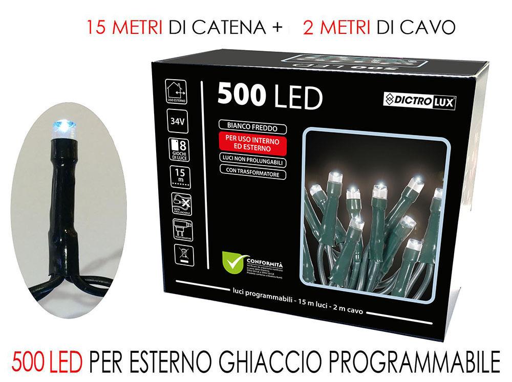 500 LUCI LED BIANCO GHIACCIO X EST. PR.Happy Casa