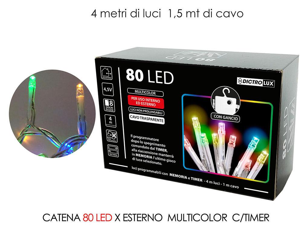 CATENA 80 LED X EST. MULTIC. B/O C/TIMERHappy Casa
