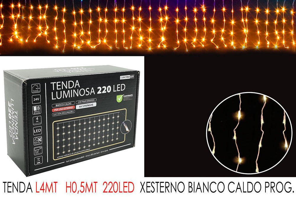 TENDA 4MT C/220LED BIANCO C LX0.5MT H PHappy Casa
