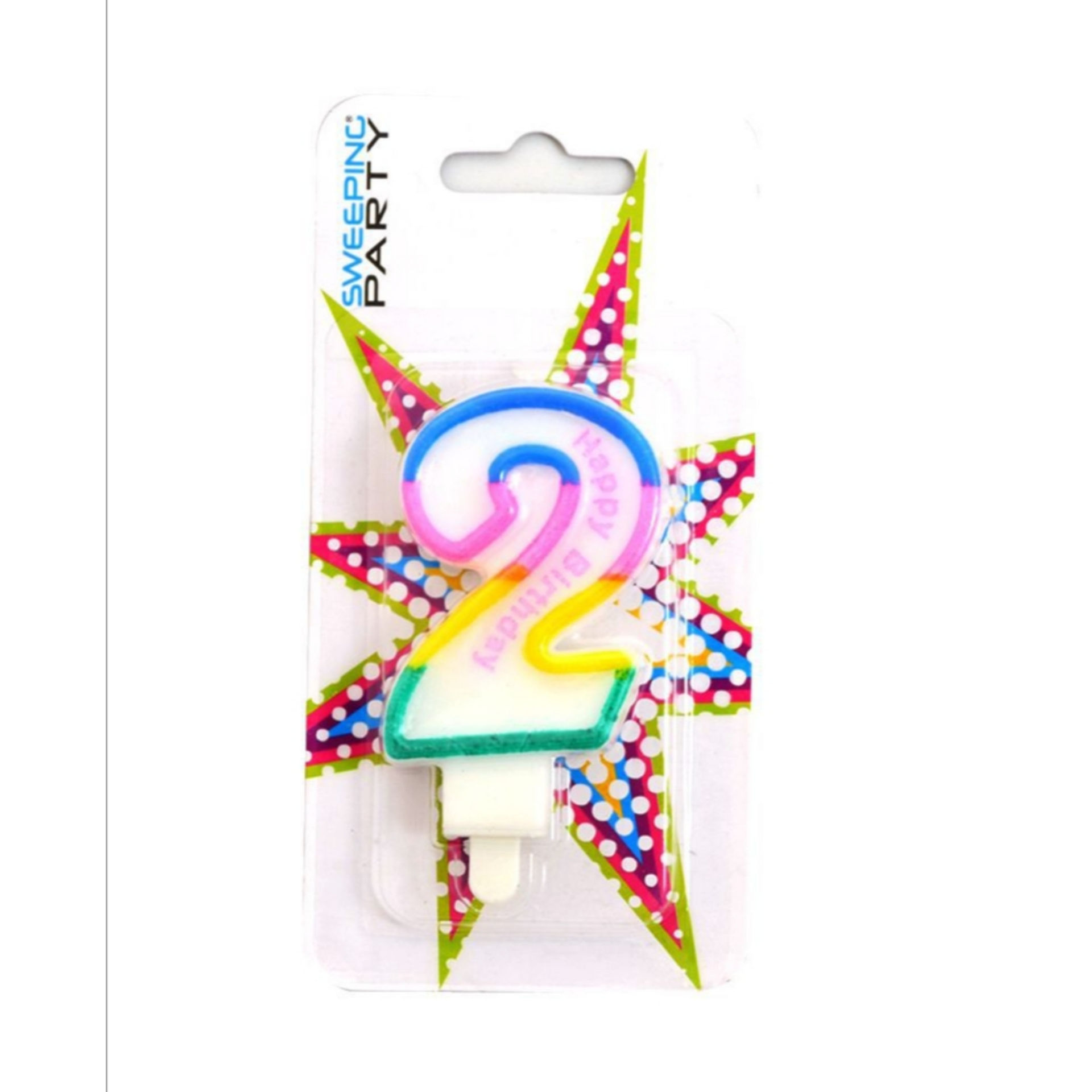 CANDELINA MULTICOLORE HAPPY BIRTHDAY N.2Sweeping Party