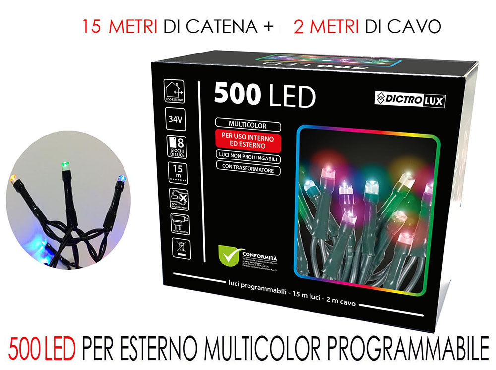 500 LUCI LED MULTICOLOR X ESTERNO PR.Happy Casa